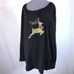 Karen Scott Sz 2X Black Reindeer Knit Top NWT